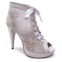 Ankle Boot para Noivas em Renda Belmon - 548 - Branco - 33 ao 43 - Sapatos Femininos, Sandálias, Peep Toes, Calçados em Numeração Especial - Sapato Show