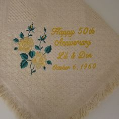Golden Anniversary Roses Personalized Embroidered Afghan - Perfect for a 50th Anniversary.