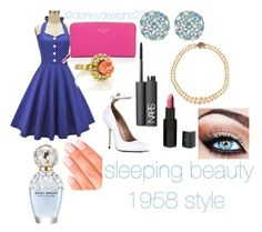 """sleeping beauty"" by lilitaylor22 ❤ liked on Polyvore featuring Kate Spade, Vintage, Susan Caplan Vintage, Alice Joseph Vintage, NARS Cosmetics, Vincent Longo, Elegant Touch and Marc Jacobs"