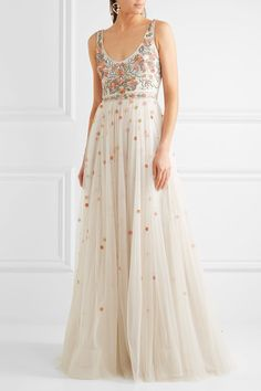 Embroidered applique tulle wedding dress from Jenny Packham