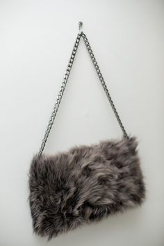 Folded Fur Clutch Bag / Lambskin Shoulder  Bag / Grey  by Imunde