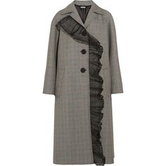 Miu Miu Houndstooth wool and mohair-blend coat (¥289,020) ❤ liked on Polyvore featuring outerwear, coats, coats & jackets, grey, ruffle wool coat, wool duster coat, patterned wool coat, hounds tooth coat and ruffle coat