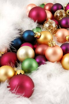 Terrifically pretty matte Christmas babbles in beautiful jewel tones. #ornaments #decorations #Christmas