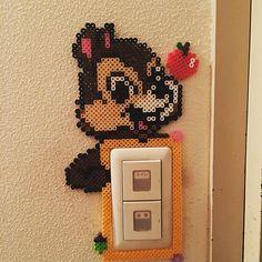 Chip (Chip'n Dale) light switch frame perler beads by aminotty Perler Bead Disney, Perler Bead Templates, Diy Perler Beads, Perler Bead Art, Pearler Beads, Fuse Bead Patterns, Perler Patterns, Beading Patterns, Pixel Beads
