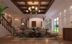 Villa-living-room-decorated-in-American-country-style.jpg (1022×626)