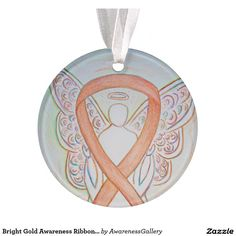 Childhood Cancer Gold Awareness Ribbon Angel Round Holiday Ornaments