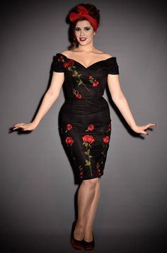 faabb7e7c61c Embroidered Rose Fatale Pencil Dress. A vintage couture style wiggle  evening dress by the Pretty Dress Company and inspired by Dolce and Gabbana
