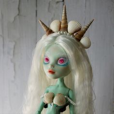 mermaid doll repaint Mermaid Dolls, Doll Repaint, Christmas Ornaments, Disney Princess, Disney Characters, Holiday Decor, Art, Art Background, Christmas Ornament