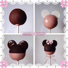 Minnie Mouse Cake Pop Tutorial - CakesDecor - Cupcakes - For Life Food Minnie Maus Cake Pops, Bolo Da Minnie Mouse, Bolo Mickey, Mickey Cakes, Minnie Mouse Party, Mini Mouse Cake Pops, Disney Cake Pops, Mini Mouse Cookies, Mickey Party