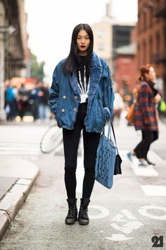 Tops [Outerwear] (jacket, denim, fur collar, blue) Tops [Shirts] (graphic tee, black, skeleton hand) Jeans (black) Boots (leather, black) Accessories [Shoulder Bags] (denim, blue, polka dots) Accessories [Shoulder Bags] (black, leather)