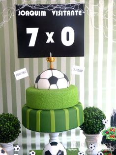 Cartel y torta Soccer Birthday Parties, Birthday Cup, Football Birthday, Sports Birthday, Soccer Party, Theme Sport, Ballon, Party Themes, Pastel