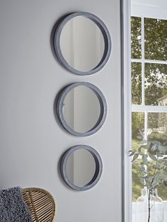 With an industrial inspired rough concrete effect frame and round mirrored surface, our set of three decorative mirrors will add an edge to your interior. Hang together to make a style statement, and pair with fresh botanicals and natura Wall Mirrors Set, Mirrors For Sale, Vintage Mirrors, Small Mirrors, Decorative Mirrors, Bedroom Mirrors, Round Hanging Mirror, Round Mirrors, Cement
