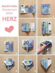 Anleitung Geldschein als Herz falten - Geschenkidee DIY