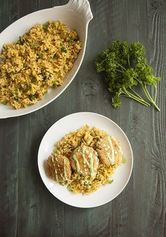 Red Lentil and Quinoa Cakes with Green Tahini Dressing // Choosing Raw