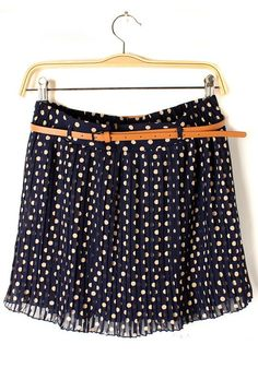 Blue Belt Mid Waist Above Knee Chiffon Skirt#skirt#dots