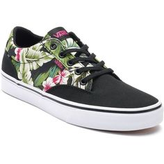 Vans Winston Women's Tropical Palm Skate Shoes (€45) ❤ liked on Polyvore featuring shoes, sneakers, vans, med green, round cap, vans footwear, green shoes, laced up shoes and lace up sneakers