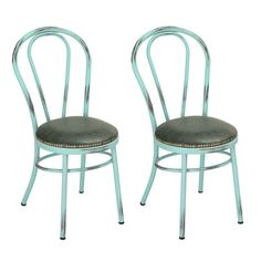 Blue Metal Dining Chairs joveco tolix style pu cushion top metal dining chairs (set of 2