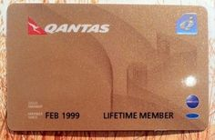 A real Qantas Lifetime Gold membership card