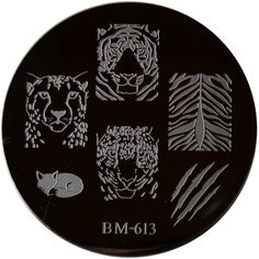 Bundle Monster Image Plate BM-613: Tiger, Leopard, Cheetah, Fox, Scratch, Free Shipping at Nail Polish Canada