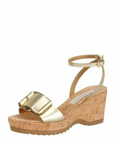 Linda Ankle-Wrap Cork Wedge Heel, Gold by Stella McCartney at Neiman Marcus.