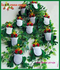Ranas verdes para el arbol de navidad