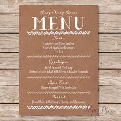 Printable Baby Shower Menu / kraft paper / Whimsical Fun Type / Rustic