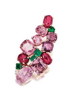 RUBY, PINK SAPPHIRE AND EMERALD BROOCH, SUZANNE BELPERRON AND A TOPAZ AND PINK SAPPHIRE RING, 1950S