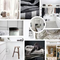 shades of grey moodboard, blog design inspiration