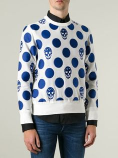 Alexander McQueen - White and blue cotton blend skull and polka dot sweatshirt  featuring a crew neck and long sleeves.   #genteroma