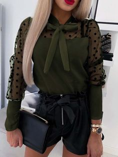Women Polka Dot Splicing Mesh Tied Neck Long Sleeve Casual Blouse - Army Green, S Jumpsuits For Women, Blouses For Women, Buy Dress, Sleeve Styles, Long Sleeve, Sleeves, Polka Dots, Casual Heels, Blouse Online