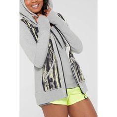 MPG - Mondetta Performance Gear Val - Knit Full Zip Hoodie ($60) ❤ liked on Polyvore featuring tops, hoodies, brush stroke acidic combo, full zip hoodies, stretchy tops, hooded pullover, knit tops and stretch top