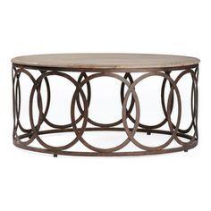Kathy Kuo Home - Ella Rustic Oak Interlocking Circle Coffee Table - Interlocking circles round out the transitional Ella coffee table's iron...