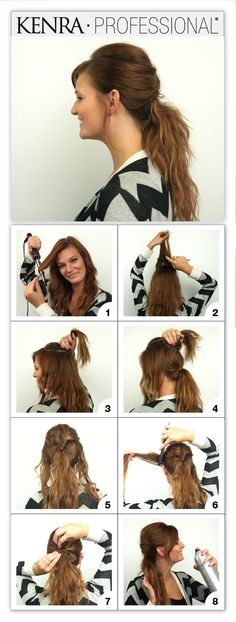 Create this ponytail by first curling the hair using a wand & Kenra Platinum Hot Spray 20. Tease the crown then part hair at the crown. Put back section into a low ponytail, leaving out front pieces. Twist left half of crown section and pin into right side of pony. Repeat with right side. Tease front pieces, twist, and pin to opposite sides of the ponytail. Finish with Kenra Volume Spray 25.