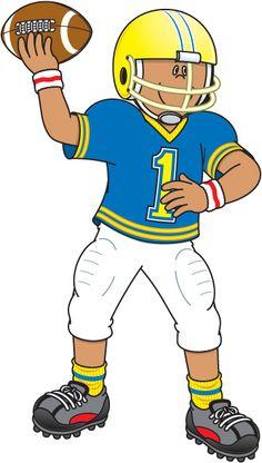 cartoon illustration of funny boy american football player with ball rh pinterest com football player clipart images football player clipart
