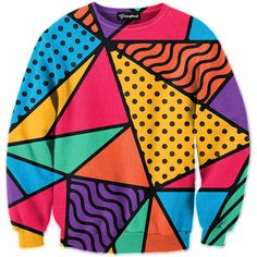 """Getonfleek™ presents the 90s Feel crewneck, a shout-out to those ten great years. If the wacky color pattern and geometric shape arrangement doesn_""""Žt remind you of the 1990s, you must not be a _""""ƒ90s kid. Just look at the squiggly lines, the bright colors and quirky design layout that scream nostalgia. If you love the 90s and you love the style, this is a great addition to your wardrobe. Harken back to the time where hip-hop turned mainstream and reawaken your inner 90s kid."""