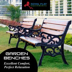 Relax and enjoy the fresh air and a comfotable seating outdoors with Royal Play garden benches. #royalplayequipment #gardenbenches #childrensplayground #playground