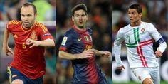 Iniesta, Messi e Ronaldo: i 3 finalisti del Pallone d'Oro 2012