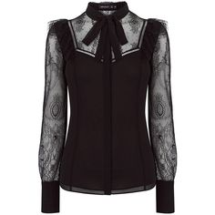 KAREN MILLEN Lace and Sheer Shirt ❤ liked on Polyvore featuring tops, blouses, neck tie blouse, sheer lace shirt, tie-neck blouses, purple lace blouse and sheer blouse