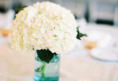 simple centerpieces hydrangeas tiffany blue   white-hydrangea-wedding-centerpiece-in-blue-mason-jar.original.jpg ...