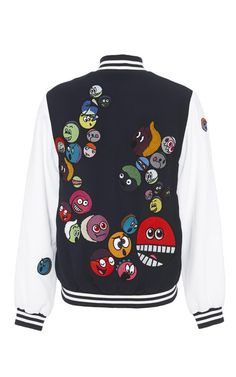 Faces Patched Bomber Jacket by Mira Mikati for Preorder on Moda Operandi