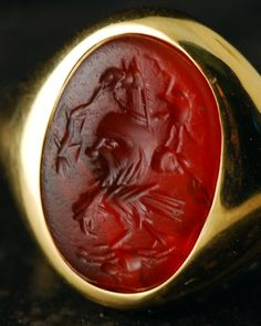 Intaglio Roman period, probably century AD. Antique Rings, Antique Gold, Antique Jewelry, Ancient Romans, Ancient Art, Roman Jewelry, Greek Pottery, Gold And Silver Rings, Cameo Jewelry