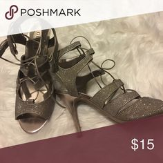 Guess sparkle heels Size 9.5 guess heels. They lace up the front to almost ankle. Work once Guess Shoes Heels