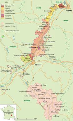 Carte des vins du Rhône septentrionale