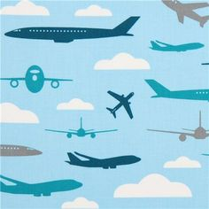 multiple shades of blue airplane fabric