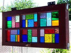 I reclaimed this old wood window from demolition and removed the broken glass and created 6 individual stained glass windows to fit into the Making Stained Glass, Stained Glass Art, Stained Glass Windows, Mosaic Glass, Fused Glass, Stained Glass Designs, Stained Glass Projects, Stained Glass Patterns, Diy Design