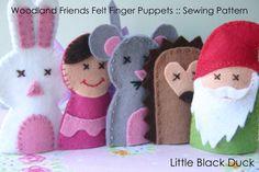 Pattern: Woodland Friends Felt Finger Puppets door LittleBlackDuck