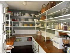 Victorian Farmhouse Pantry: would love to have a pantry like this for storing seasonal serving dishes and entertaining,  not just for storing food.