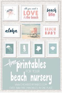 Beach Printables & FREE Printable Beach Decor. This would be so cute in a girl's nautical nursery or beach themed nursery