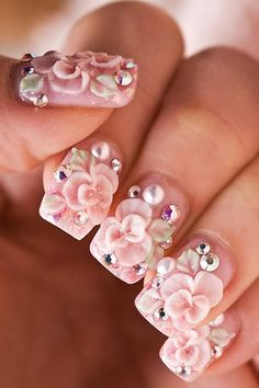 Image via  3d Flower Nail image   Image via  3d Flower Nail Designs-Ideas 2015      Image via  Pink nails with flower 3D art   Image via  Purple 3d flowers - Nails Style Phot