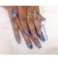 Dallas Cowboys Nail Designs! IG nailsby_tonya nail art for DALLAS NFL TEAM Dallas Cowboys Nail Designs, Dallas Cowboys Nails, Cowboy Nails, Nails 2016, Haircuts For Long Hair, Nail Ideas, Ladybug, Nail Art Designs, Nfl